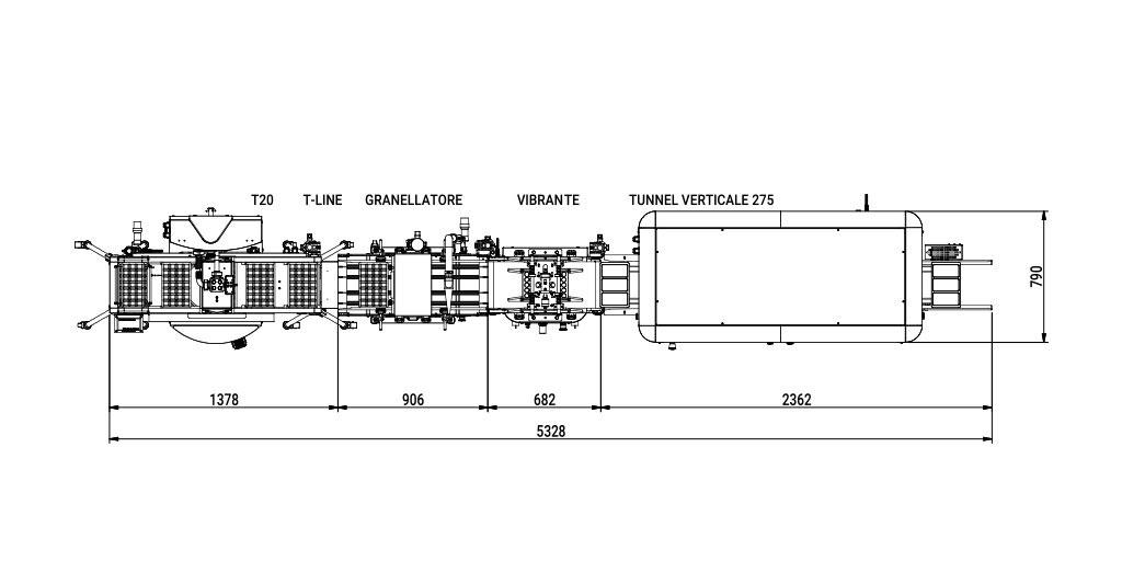 pomati linee di prodotti standard T Tline Granellatore vibrante verticale disegno